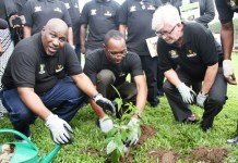 General Manager, Lagos State Environmental Protection Agency (LASEPA), Engineer Adebola Shabi; Director, Supply Chain, Guinness Nigeria Plc, Mr. Cephas Afebuameh; former Guinness Nigeria Managing Director and Chairman of Promasidor Nigeria Limited, Mr. Keith Richards, during the 2014 Tree Planting Day organized by LASEPA in partnership with Guinness Nigeria Plc, held on Monday 14th July, 2014, at the Guinness Nigeria Plc, Ogba Brewery in Lagos State.