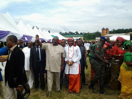 Imo Speaker acknowledging cheers from Obowu people at the venue of the event