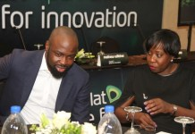 Judge, Etisalat Pan-African Prize for Innovation, Audu Maikori and Member, Board of Innovators, Etisalat Pan-African Prize for Innovation, Funke Opeke, at the event.
