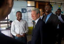Jica President Dr Akihiko Tunaka shares a light moment at K-Lab. (Timothy Kisambira)