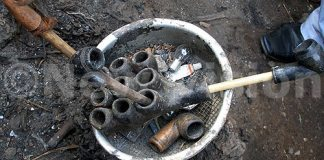 Belief in witchcraft is common in many African communities. Pictured here are smoking pipes retrieved from a shrine in Kibuli, Kampala.