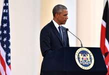 U.S. President Barack Obama attends a joint press conference with Kenyan President Uhuru Kenyatta in Nairobi, Kenya, July 25, 2015. Kenya and the U.S. on Saturday reaffirmed their commitment on security cooperation and in the war against terrorism to help prevent future terror attacks in the East African nation. (Xinhua/Sun Ruibo)