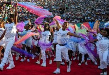 Cheerleaders perform at the Memorial Coliseum, during the Opening Ceremony of the Special Olympics World Games in Los Angeles, the United States, July 25, 2015. The 2015 Special Olympics World Games gathers over 6,500 athletes from 165 countries and regions, taking part in 25 events, and lasts from July 25 to August 2.(Xinhua/Zhang Chaoqun)