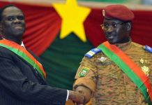 Mr Kafando (L) and Prime Minister Lt Col Isaac Zida (R) took power 10 months ago