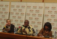 Abdoulie Janneh, Executive Director Mo Ibrahim Foundation (Middle) addressing the media