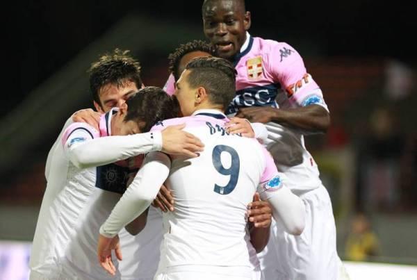 Jonathan Mensah celebrating a goal on his return for Evian