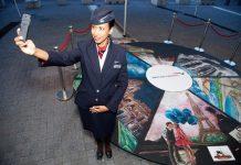 #BAmyValentine British Airways ambassador Salama Detlefsen snaps a selfie with pop-up art of the airline's six most romatic destinations