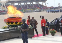 President John Dramani Mahama lighting the Perpetual Flame