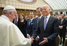 Osservatore Romano/AFP This picture released by the Vatican press office shows Pope Francis (L) shaking hands with US Vice President Joe Biden on April 29, 2016 at the Vatican