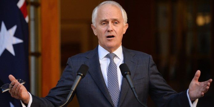 New Australian Prime Minister Malcolm Turnbull answers a question after announcing his new cabinet at a press conference in Canberra on September 20, 2015. Turnbull announced the cabinet reshuffle, promoting more women to key positions just days after he ousted Tony Abbott in a party coup. AFP PHOTO / Peter PARKS (Photo credit should read PETER PARKS/AFP/Getty Images)