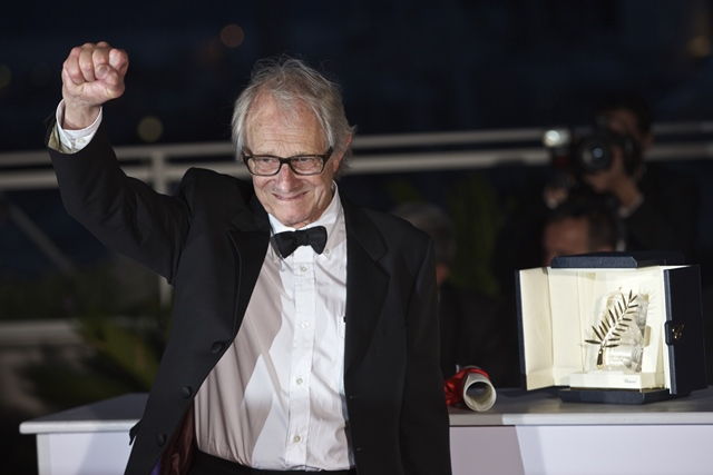 British director Ken Loach poses with his trophy during a photocall after winning the Palme d'Or Award for the film