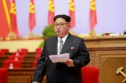 KCNA Via KNS/AFP North Korean leader Kim Jong-Un addresses the 7th Workers Party Congress at the 'April 25 Palace' in Pyongyang