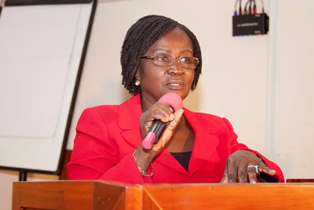 Prof. Naana Jane Opoku Agyemang delivering her opening address at the forum