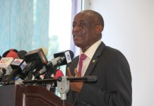 Finance Minister Mr Seth Terkper meets the press in Accra.