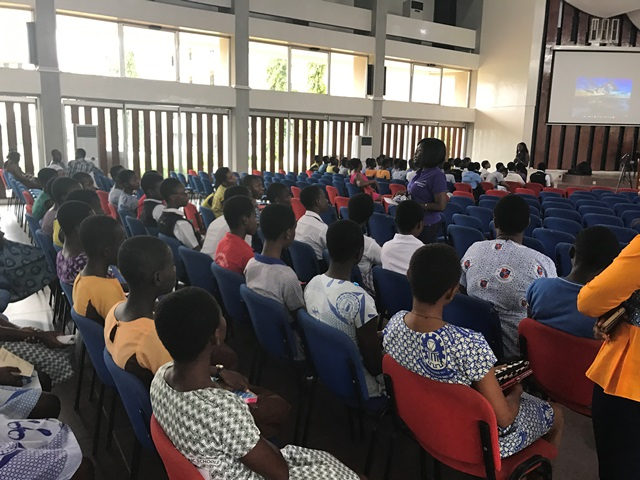 Newmont engineer Gertrude Eshun mentors young students to take up science and engineering during a break-out session at the WINE Conference in Kumasi