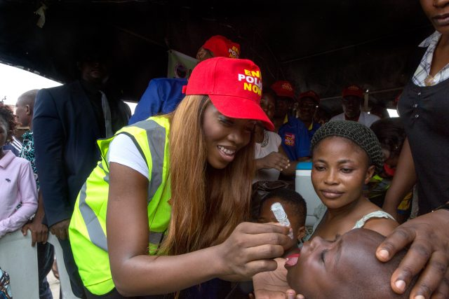 22nd April, 2017. Lagos, Nigeria. Tiwa Savage, a Nigerian pop star and mother, joined Dr Tunji Funsho, Chair of Rotary's National PolioPlus Committee for Nigeria, to participate in a National Immunization exercise in Lagos, Nigeria on 22 April 2017. Savage recently joined the End Polio Now campaign as a Polio Ambassador.