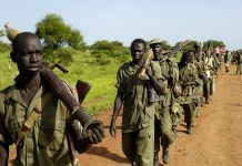 SPLA soldiers redeploy south from the Abyei area in line with the road map to resolve the Abyei crisis.