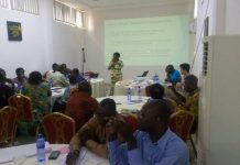 Mrs. Georgina Amidu speaking at the workshop