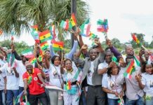 Section of the Ghanaian community present at the airport to welcome President Akufo-Addo