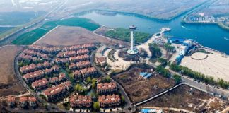 Aerial view of the dock at the Baiyangdian scenic area in the Xiongan New Area. (Photo from People's Daily Online)