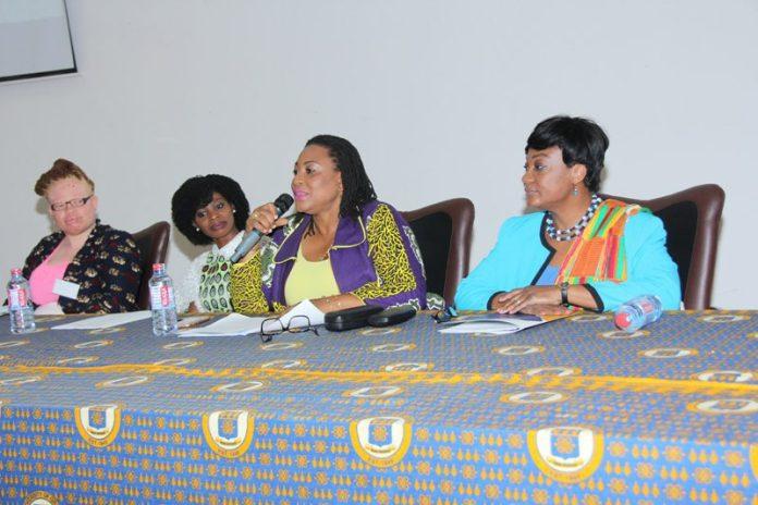 Madam Josephine Nkrumah (2nd R) addressing the meeting