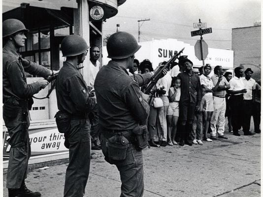 Detroit July 1967 Rebellion on Linwood at Hazelwood where the masses confronted the National Guard