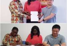 Dr. Kludjeson, Roberta Annan and CEIEC representative sign the MOU