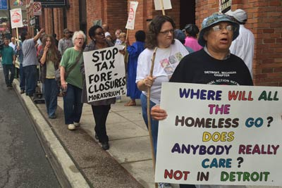 Detroit Moratorium NOW! Coalition demonstration outside the Wayne County Treasurer Office against property tax foreclosures