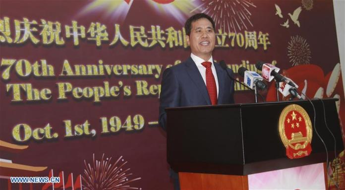 Zhou Pingjian, Chinese Ambassador to Nigeria speaks during a reception to celebrate the 70th anniversary of the founding of the People's Republic of China in Abuja, Nigeria, Sept. 26, 2019. A reception was held on Thursday by the Chinese Embassy in Nigeria to celebrate the 70th anniversary of the founding of the People's Republic of China. (Xinhua/Guo Jun)