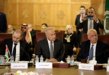 "Arab League Secretary-General Ahmed Aboul-Gheit (C) attends an emergency meeting of Arab foreign ministers at the Arab League headquarters in Cairo, Egypt, on Feb. 1, 2020. Palestinian President Mahmoud Abbas said here on Saturday that his authority informed the Israeli and U.S. sides that it will ""cut all relations"" with them over the recently released U.S. peace plan. (Xinhua/Ahmed Gomaa)"