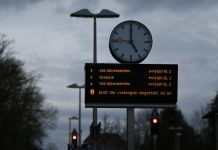 "A sign in Oberelsungen, Hesse reads that train traffic is ""provisionally suspended"" on Sunday afternoon. Photo: DPA"