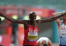 Timothy Cheruiyot of Kenya celebrates after the men's 1500m final at the 2019 IAAF World Athletics Championships in Doha, Qatar, Oct. 6, 2019. (Xinhua/Jia Yuchen)