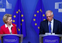 European Commission President Ursula von der Leyen and EU High Representative for Foreign Affairs and Security Policy Josep Borrell hold a joint news conference after a college meeting of the EU executive to discuss Iran crisis, in Brussels, Belgium January 8, 2020. REUTERS/Francois Lenoir