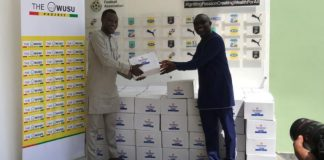 Samuel Owusu Presents Sanitizers To Gfa