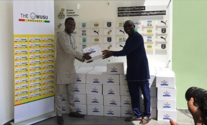 Samuel Owusu Presents Sanitizers To Gfa