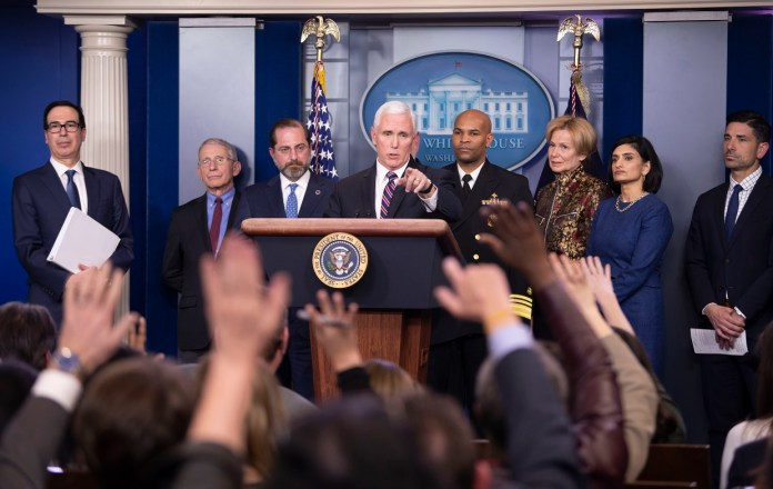 U.S. Vice President Mike Pence attends a press conference on the COVID-19 at the White House in Washington D.C. March 9, 2020. (Xinhua/Liu Jie)