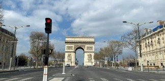 Photo taken on April 2, 2020 shows the empty Champs-Elysees in Paris, France. The number of confirmed COVID-19 cases worldwide has risen above 1 million, according to a new tally from Johns Hopkins University on Thursday. (Xinhua/Tang Ji)