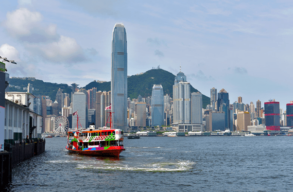 A vessel heads for the Star Ferry Pier at the Victoria Harbour, Hong Kong, July 27, 2019. Photo by DuanChangzheng/People's Daily online