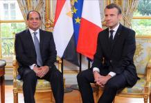 President of France Emmanuel Macron (R) and President of Egypt Abdel Fattah al-Sisi (L)