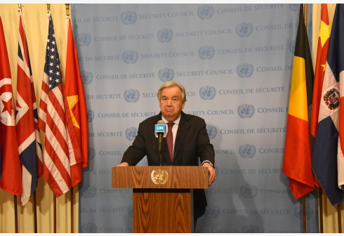 UNITED NATIONS, Feb. 28, 2020 (Xinhua) -- United Nations Secretary-General Antonio Guterres attends a press encounter at the UN headquarters in New York, on Feb. 28, 2020. The latest attacks in opposition-held northwest Syria marks