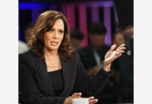 BEIJING, Aug. 12, 2020 (Xinhua) -- File photo taken on June 27, 2019 shows Senator Kamala Harris of California being interviewed after the second night of the first Democratic primary debate in Miami, Florida, the United States. Former U.S. Vice President and presumptive Democratic nominee Joe Biden announced on Aug. 11, 2020 that he has picked Senator Kamala Harris of California as his running mate. (Xinhua/Liu Jie)