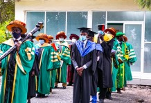 Academic procession of the East African University during the edition of the institution graduation ceremony. 635 graduands were conferred with degrees by Chancellor Prof. George Mondo on Friday 31st July 2020.