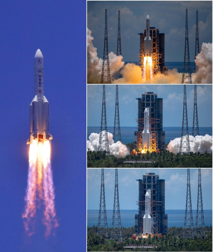 China's Long March-5 Y4 carrier rocket launches the country's first Mars exploration mission Tianwen-1 at the Wenchang Spacecraft Launch Site in south China's Hainan on July 23. (Photo courtesy of China National Space Administration)