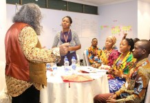 Training and mentoring in Addis Ababa, Ethiopia (Rhoda standing)