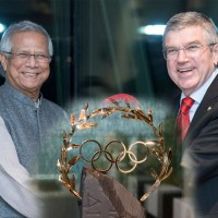 Dr Yunus received Virtual special honors from Olympics