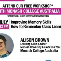 UCB to offer free workshop with Monash College Australia on improving memory skills