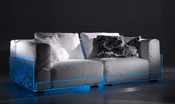 Modern lighting sofa for home theater rooms