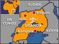 BBC map of Uganda, showing Apac Province. Apac is victim to terrorism by the