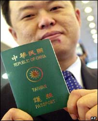 (Photo, courtesy of BBC News)  Taipei hopes the new passport will help reduce confusion.