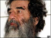 Saddam Hussein after being captured